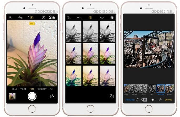 standaard filters voor live photos