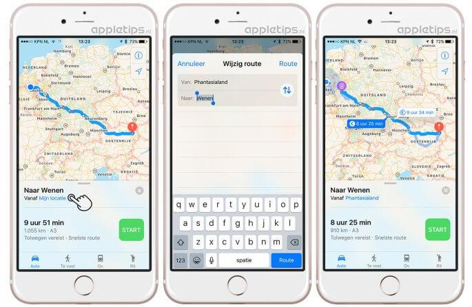 route aanpassen in de Kaarten app in iOS