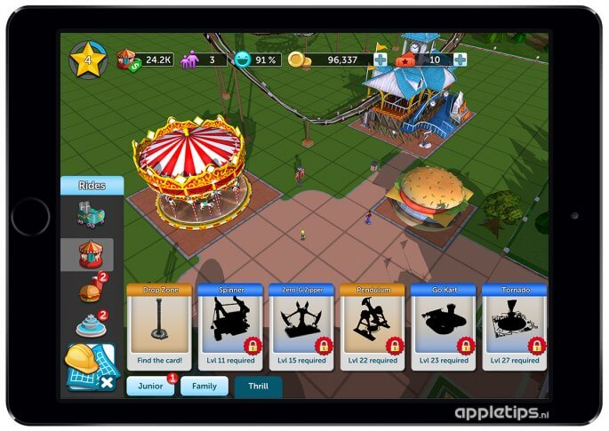 Rollercoaster Tycoon Touch attracties