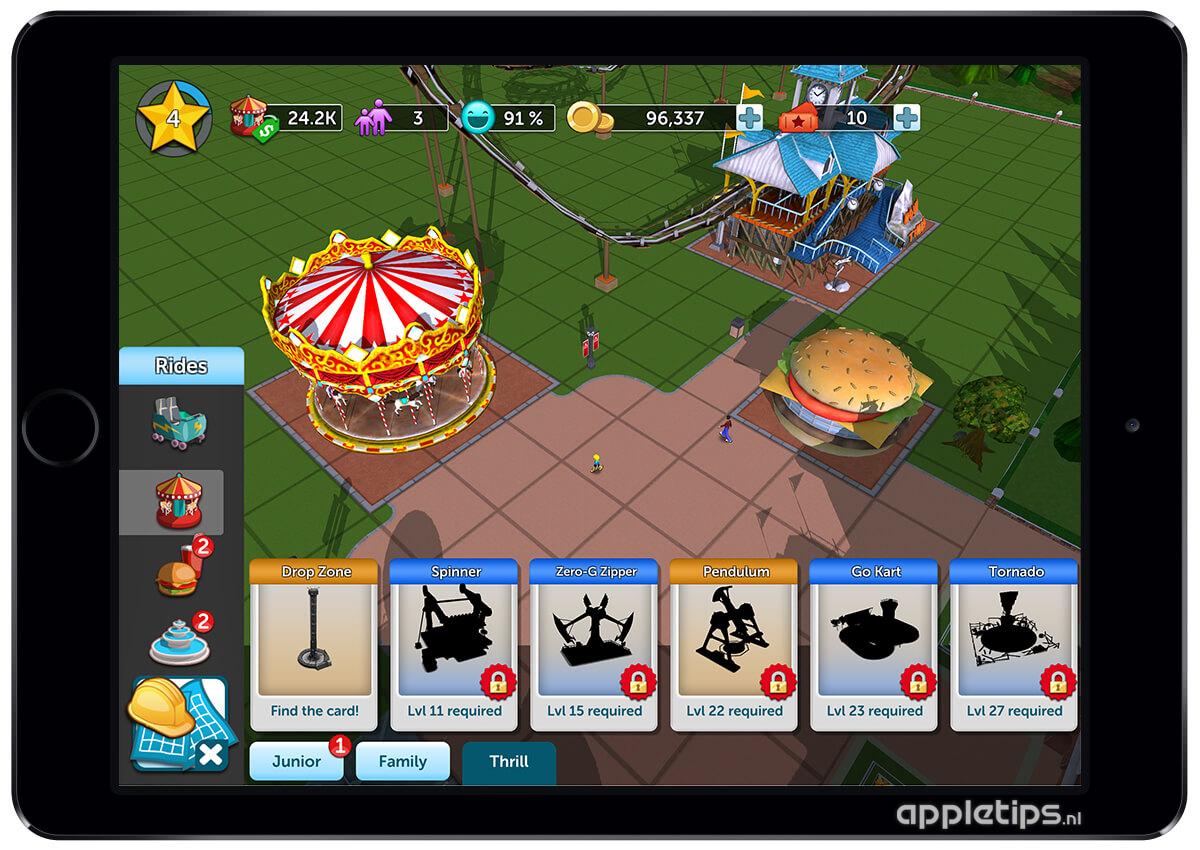 Bouw je pretpark met Rollercoaster Tycoon Touch voor iOS - appletips