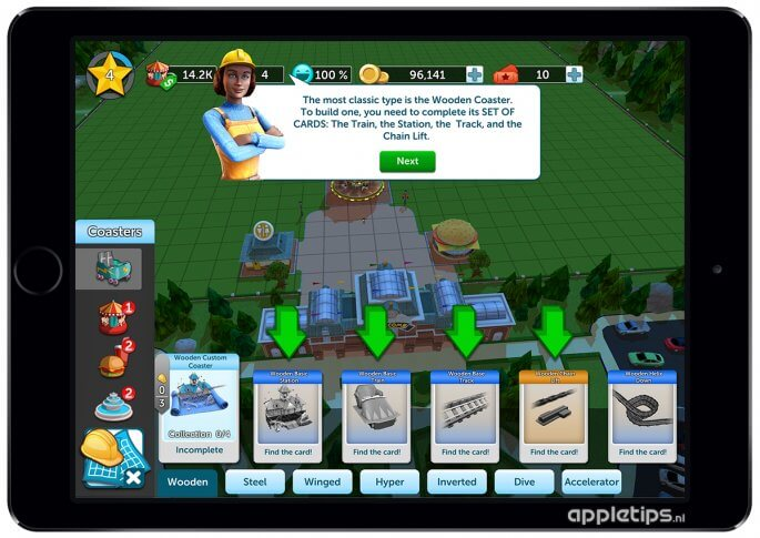 Rollercoaster Tycoon Touch achtbaan bouwen