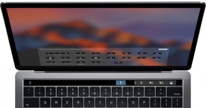 standaard Touch bar aanpassen