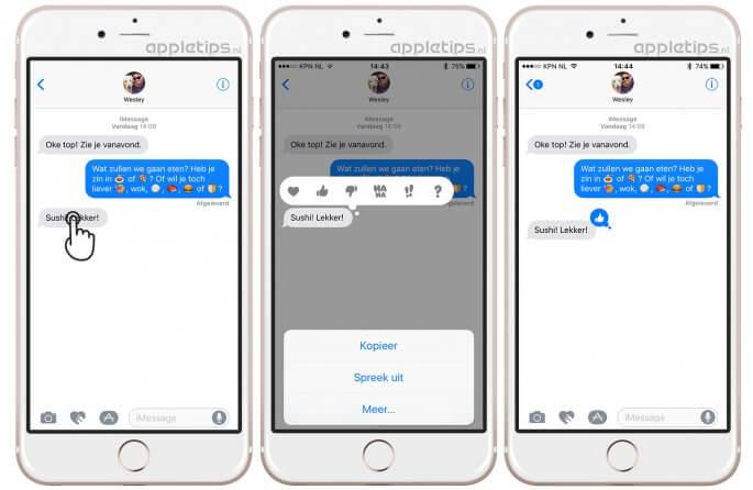 tapbacks (korte reacties) in iOS berichten