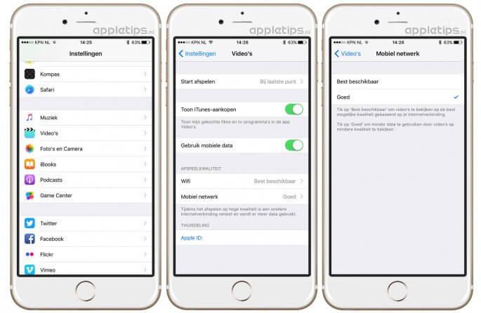 Afspeelkwaliteit van video's aanpassen in iOS 10