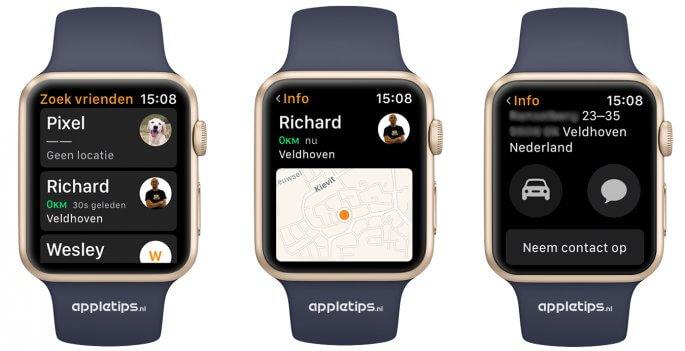 Zoek mijn vrienden gebruiken op een Apple Watch