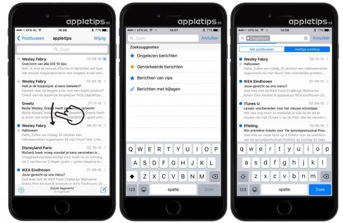 Zoeksuggesties gebruiken in iOS Mail
