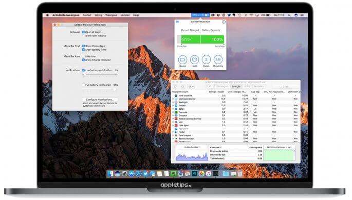 resterende batterijduur tonen in macOS