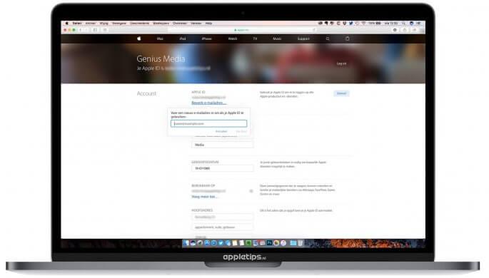 Gekoppelde e-mailadres apple id  wijzigen