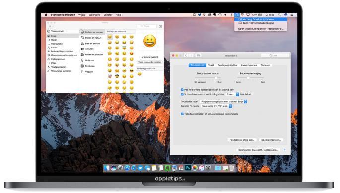 Emoji's activeren op een mac via toetscombinatie