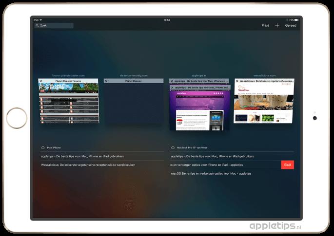 icloud-tabbladen gebruiken op een iPad