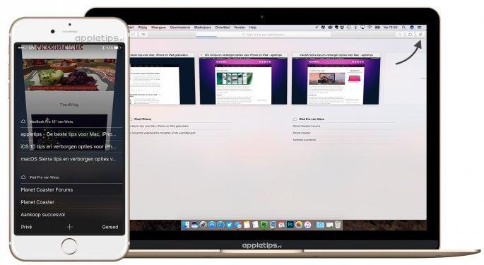 iCloud-tabbladen tussen iOS en mac