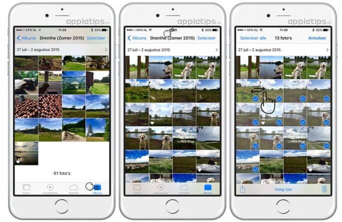 Snel navigeren in een fotoalbum in iOS foto's