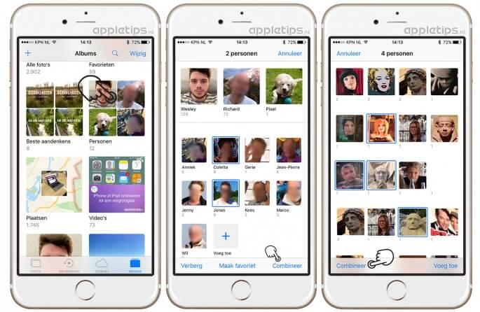 Personen combineren in iOS 10 Foto's