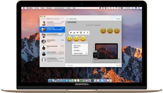 tapbacks of korte reacties in berichten geven op een Mac