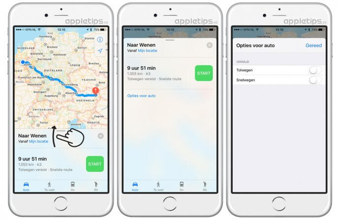 veerdiensten, tolwegen en meer vermijden in iOS kaarten