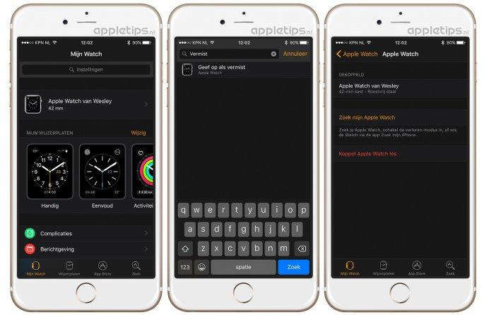 zoeken in Apple Watch applicatie