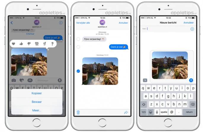 bericht doorsturen in iOS via Berichten