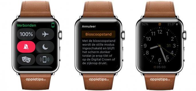 Theater mode voor Apple Watch (bioscoopstand)