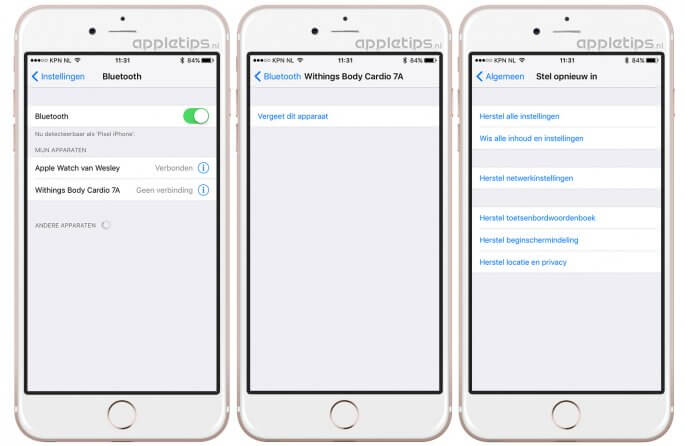 Bluetooth problemen oplossen in iOS