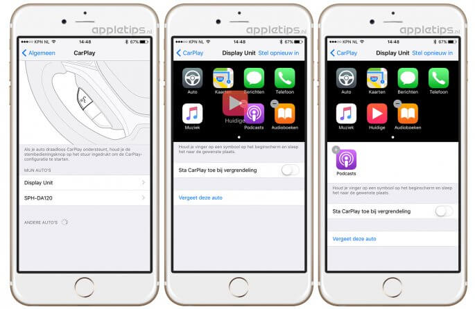 CarPlay apps verwijderen of aanpassen in iOS