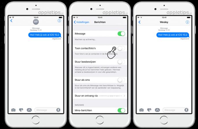 Contactfoto's in iOS berichten verwijderen