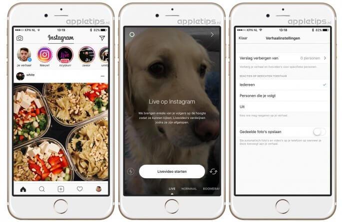 Instagram live video's delen (stories)