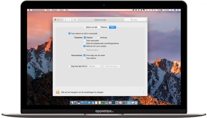 klok en tijd aanpassen in Mac menubalk