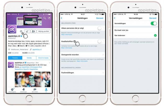 kwaliteitsfilter uitschakelen in iOS Twitter en alle meldingen ontvangen