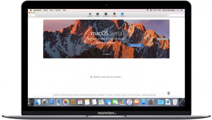 macOS Sierra update verbergen in de app store