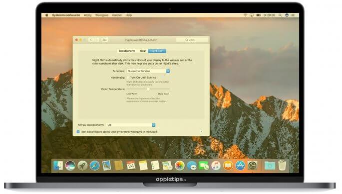 Night Shift macOS Sierra 10.12.4
