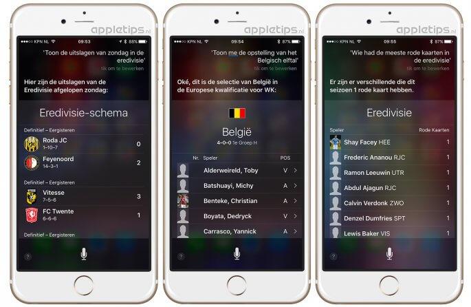 Siri voetbal informatie in iOS