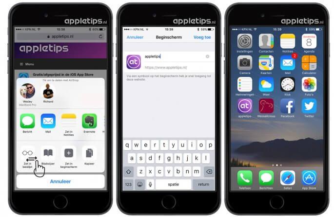 Websites plaatsen op iOS beginscherm