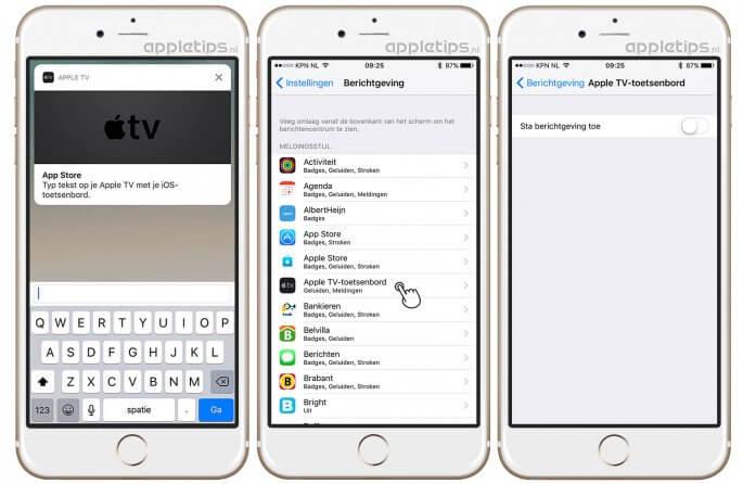 Automatisch Apple TV-toetsenbord in iOS uitschakelen