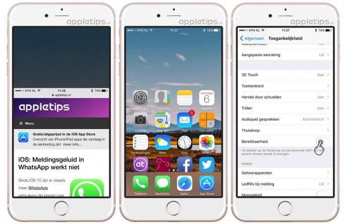 bereikbaarheid iOS activeren