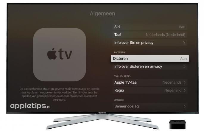 Tekst dicteren inschakelen Apple TV