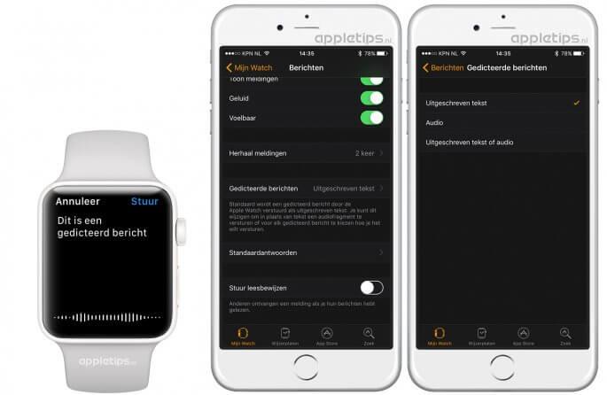 gedicteerde berichten op een Apple Watch versturen als tekst