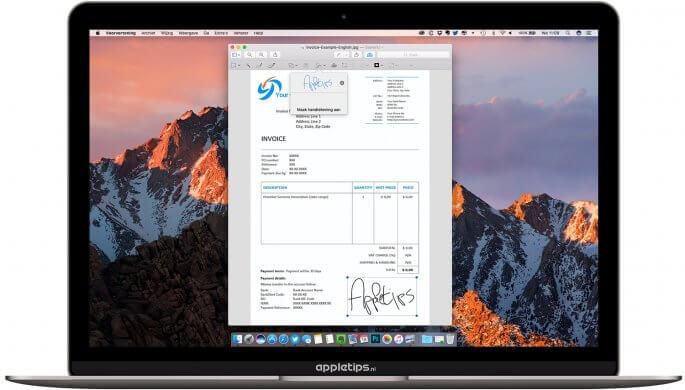 ingescande handtekening gebruiken mac