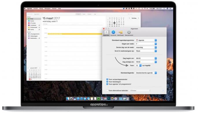 meer tijden tonen (meerdere tijden) in de dagweergave van Agenda op een Mac