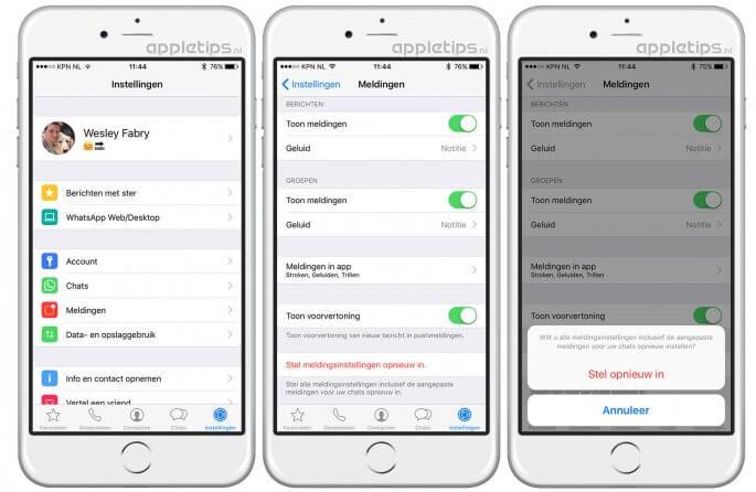 meldingsgeluid whatsapp herstellen