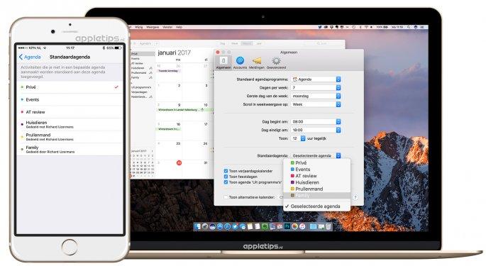 standaard agenda aanpassen in iOS en Mac