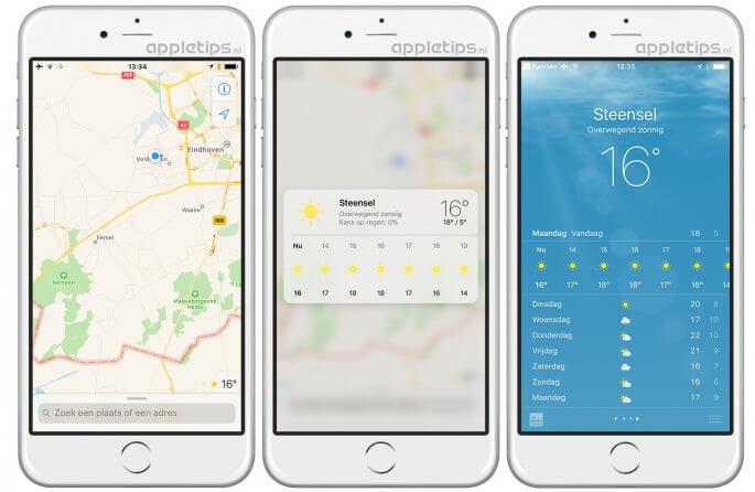 met 3D touch weerinformatie weergeven in iOS KAarten
