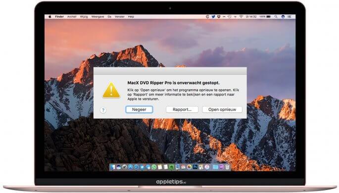 Mac applicaties crashen