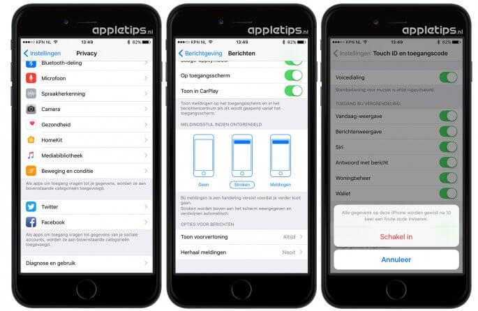 beveiliging en privacy instellingen iOS