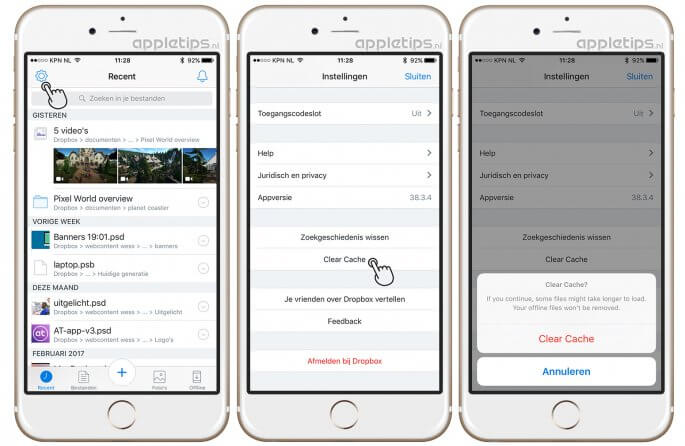 Dropbox cache legen in iOS
