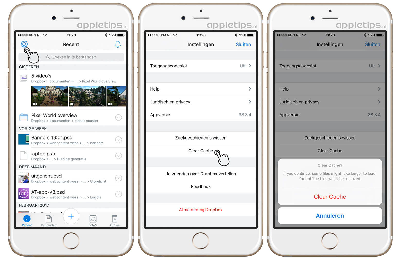 how to clear app cache in ios