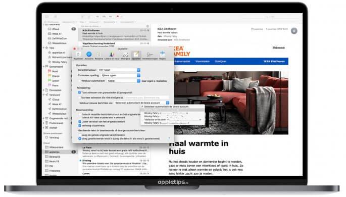 standaard e-mailadres kiezen op een Mac