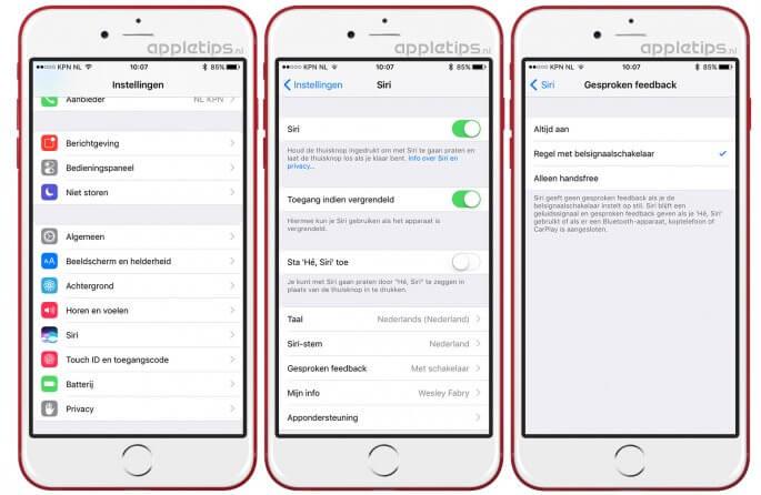 gesproken feedback activeren voor Siri wanneer deze niet terugpraat