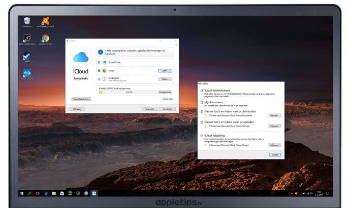 iCloud instellen op een Windows PC