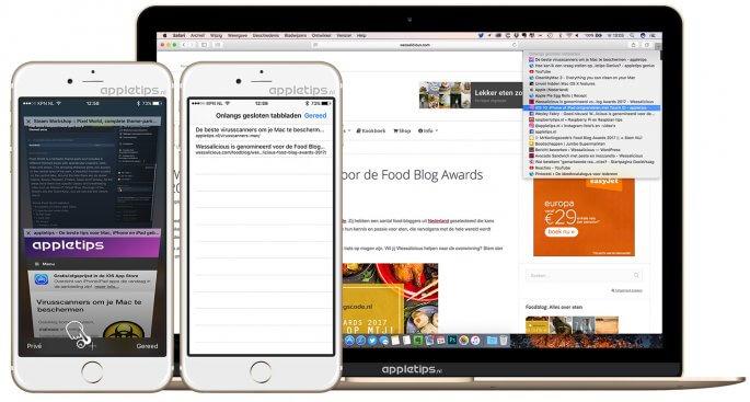 Onlangs afgesloten tabbladen opnieuw openen in iOS en macOS Safari