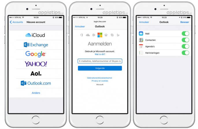 hotmail, outlook of live account toevoegen aan iOS (iphone/ipad)